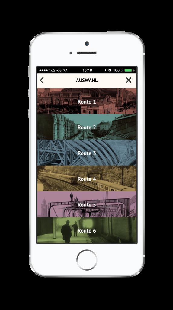 """Die Routenauswahl der """"HVV-Zeitschiene"""" App"""