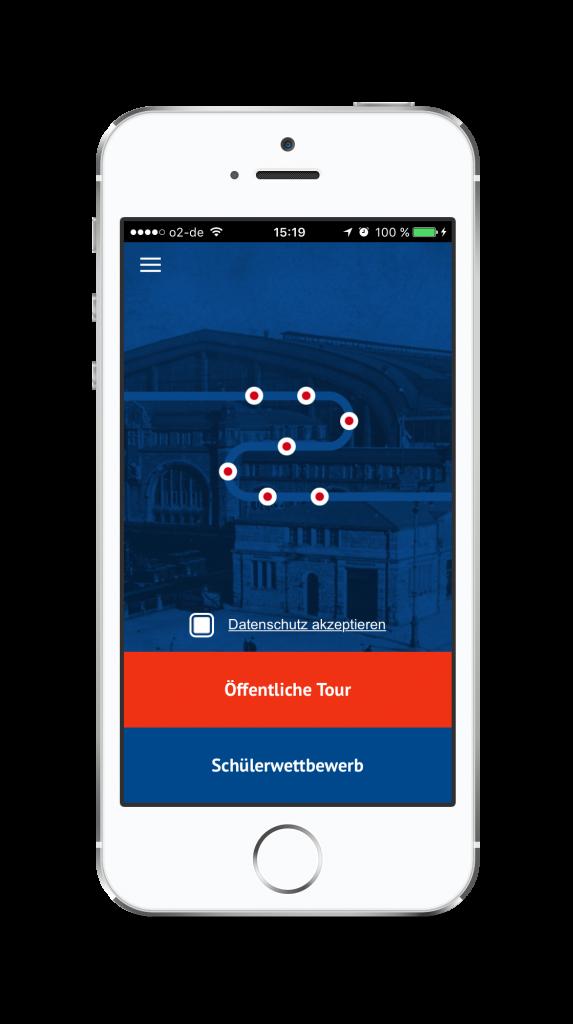 """Startbildschirm der App """"HVV-Zeitschiene"""""""