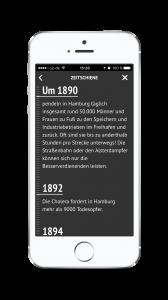 Die Zeitschiene der HVV-App