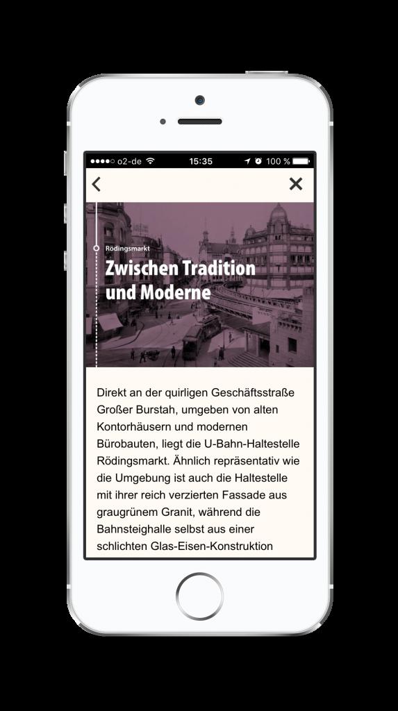 """Inhalte der App """"HVV-Zeitschiene"""""""