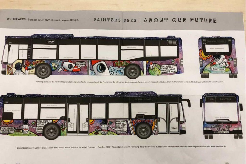 Der PaintBus 2020 Siegerentwurf des Heisenberg-Gymnasiums